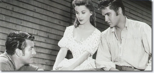 Richard Egan, Debra paget and Elvis Presley on the set of 'Love Me Tender'. From the book, Inside Love Me Tender
