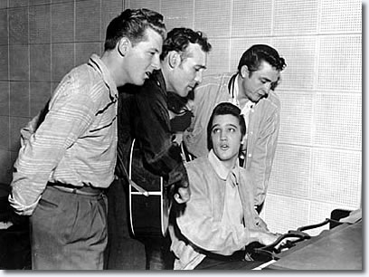 December 1956: It was a Carl Perkins recording session at Sun Records. Elvis stopped by to see what's happening -- this was a year after he left Sun for RCA. Jerry Lee Lewis was always hanging around the studio -- he hadn't quite made it yet. So the three of them started goofing around, and [Sun Studio owner] Sam Phillips was smart enough to leave the tape running. After awhile, Sam realized the was an amazing occurrence, so he calls Johnny Cash and says,