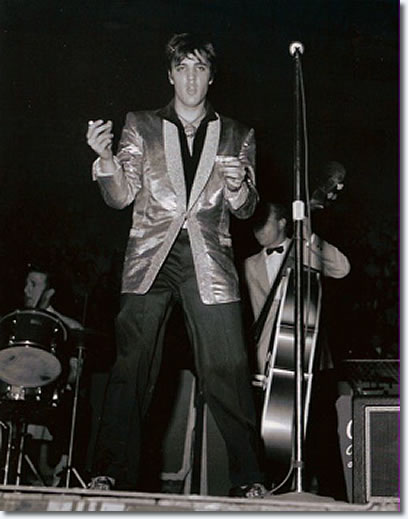 D.J. Fontana, Elvis, Bill Black and the Jordanaires onstage at the Auditorium in Ottawa - Apr. 3, 1957.