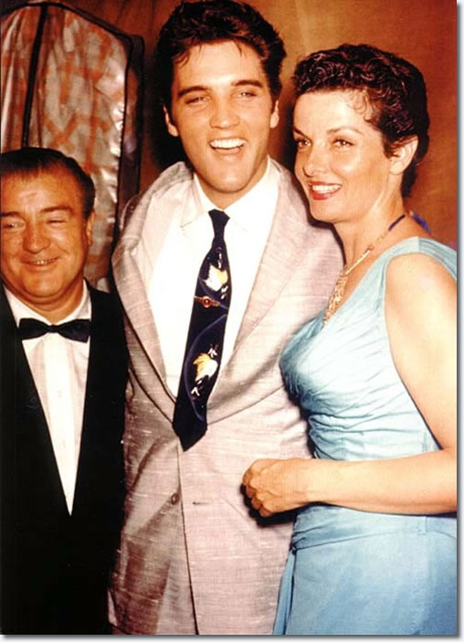 Elvis Presley with comic Lou Costello and actress Jane Russell : Russwood Park : June 28, 1957