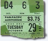 Ticket for The Elvis Presley show Pan Pacific Auditorium, Los Angeles - October 28, 1957