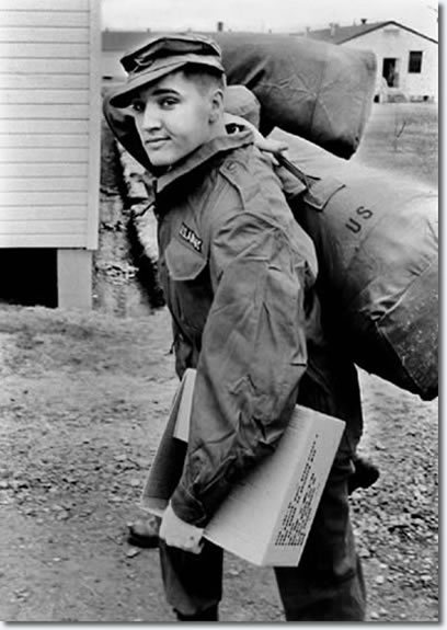 March 28, Elvis Presley was outfitted with all of his military gear at Ft Chaffee, Ark.