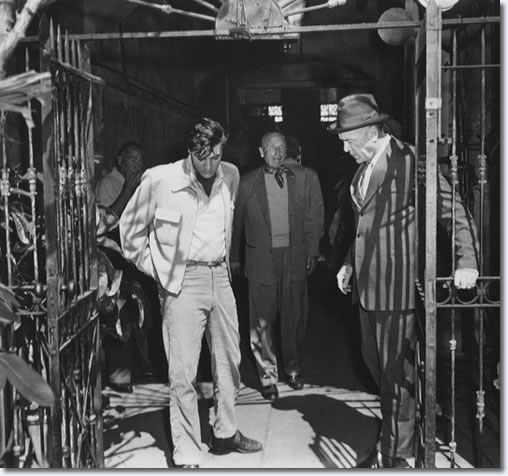 Hal Wallis, Elvis,Michael Curtiz and Dean Jagger on location. March 3,1958.