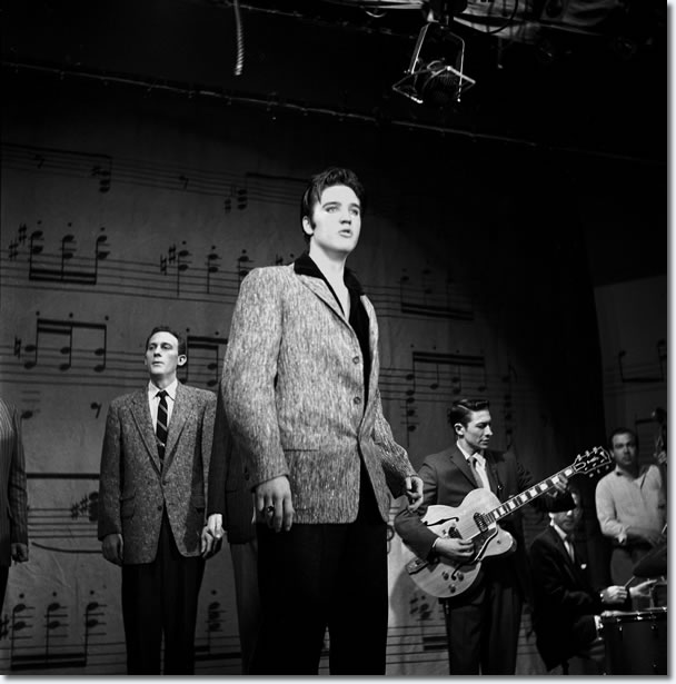 Elvis Presley rehearsing for The Ed Sullivan Show : January 6, 1957 : His third and final appearance.