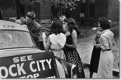 These teenage girls wait outside the recording studio to grab a few moments with Elvis Presley