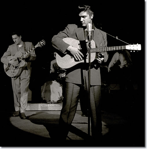 Elvis Presley & Scotty Moore on stage 1950s