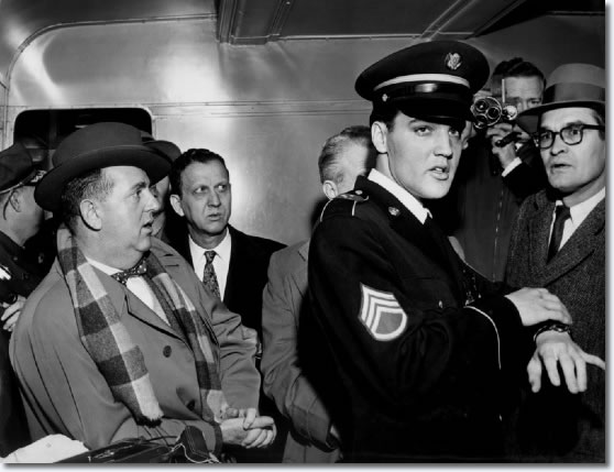 Elvis Presley aboard the train that brought him home to Memphis early Monday March 7, 1960.