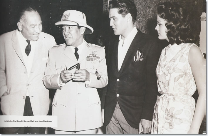 In this picture we see Hal Wallis, Indonesia's first President Kusno Soekarno [1945 to 1967], Elvis Presley Joan Blackman. Soekarno met Elvis in Hawaii while en route to the US to visit President John Kennedy.