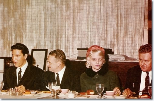Elvis Presley, Tennessee Governor Buford Ellington, Dee Stanley [presley] and Vernon Presley : February 25, 1961 : Luncheon.