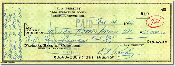 Elvis' check which he used to pay for the yacht that he donated to St Jude's