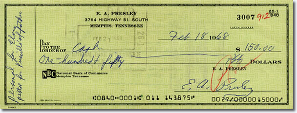 Check from February 1968 for a Colt Python pistol. When Lt. Col. Beaulieu (Priscilla's father) was going to Vietnam, Elvis worried about his safety. Concerned that Lt. Col. Beaulieu might get stuck in a dangerous situation, Elvis Presented him with the pistol, which he always carried but never had to use.