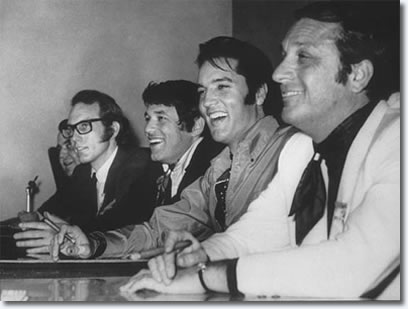 In this picture we can see the four important men who created this special, from left to right; Bones Howe (Recording Producer/Engineer), Steve Binder (Producer/Director of the show), Elvis Presley (THE MOST IMPORTANT MAN!) and Bob Finkel (Executive Producer of the show).