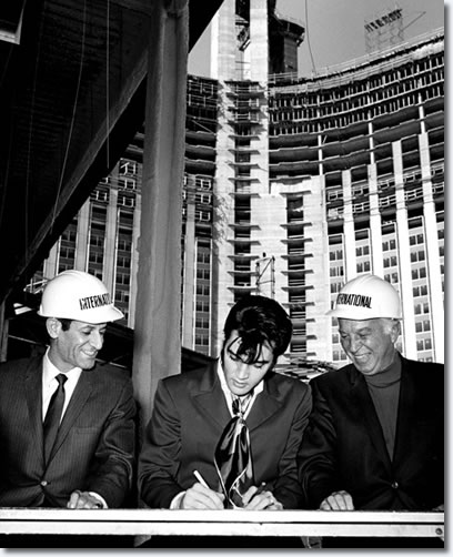 February 26, 1969 - Elvis signing his performance contract with The International Hotel in Las Vegas.