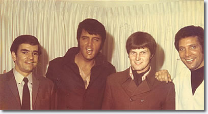 Chris Ellis, Elvis Presley, Tom Jones's drummer and Tom Jones.