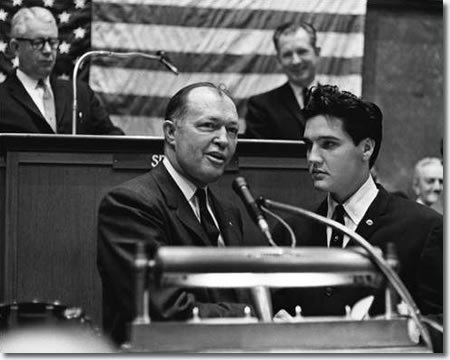 Governor Buford Ellington addressing the Tennessee State Legislature with Elvis Presley
