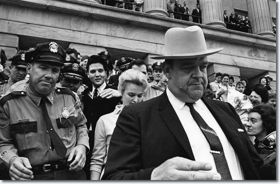 Elvis Presley leaving the Tennessee State Legislature