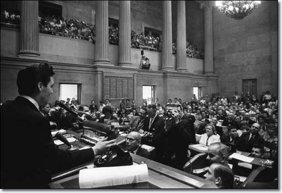 Elvis Presley addressing the Tennessee State Legislature