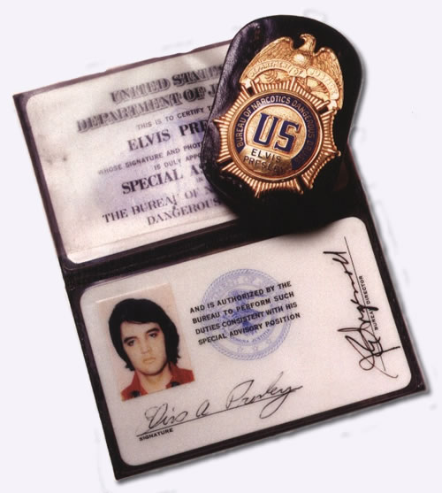 Elvis Presley's Badge and I.D. - Bureau of Narcotics and Dangerous Drugs