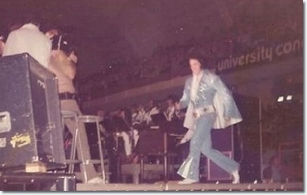 Elvis Presley takes thew stage for his concert performance, April 8, 1972 in Knoxville.