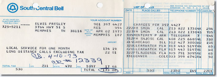 Have you ever wondered what Elvis's phone number was? How about how much his phone bill cost? That would be over $800 today!