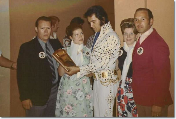 Members of 'The King's Court' fan club from New York meeting Elvis backstage in Las Vegas on August 31, 1973.