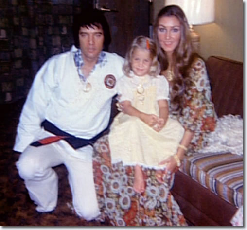 Elvis and Lisa Marie Presley and Linda Thompson : July 1, 1973.