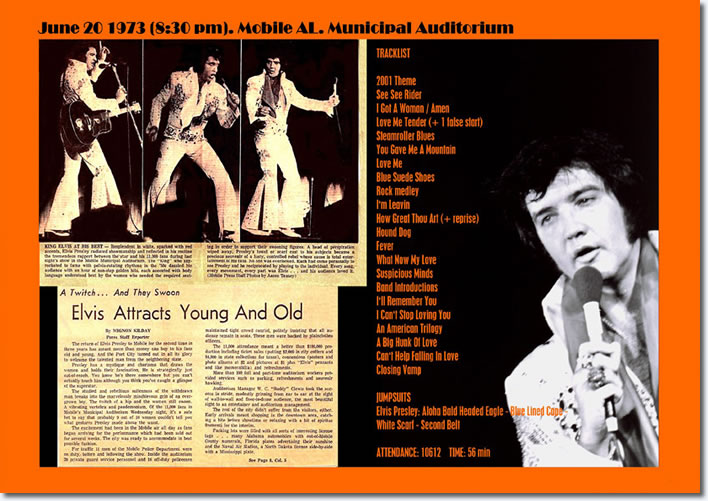 Elvis Presley : Municipal Auditorium : Mobile AL : June 20, 1973