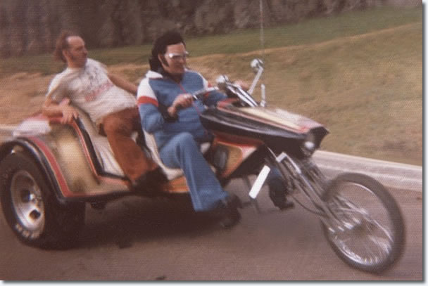 Here's another picture of him riding the same 'Trike' this time with Billy Smith as the Passenger.
