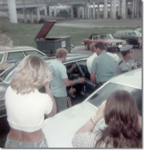 Elvis Presley leaving his hotel in Shreveport, LA on his way to Baton Rouge, LA on July 2, 1976.