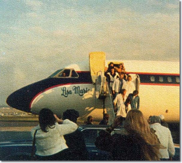 Elvis arriving in St Louis, MO on The Lisa Marie, March 22, 1976 for the last show of his first tour of 1976.