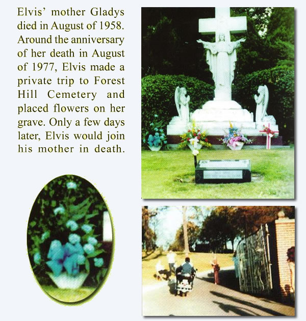 Elvis returning to Graceland after paying respects to his mother at Forest Hill Cemetery on Aug 11, 1977.