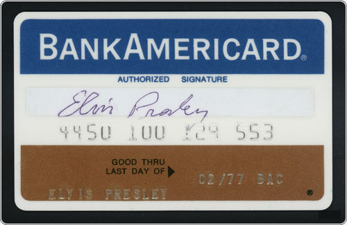 Elvis Presley - Bank AmericaCard - Credit Card - 1977, February