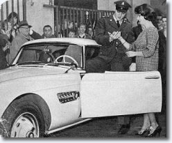 Elvis picking up his BMW 507 in Germany