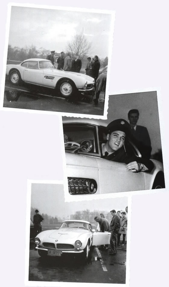 Elvis picking up his white BMW 507 - December 1958