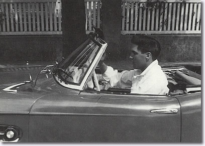 Elvis' in his red BMW 507