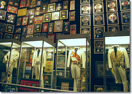 Costumed King ... some of Elvis' elaborate stage costumes on display in the Trophy Room / Scott Jenkins