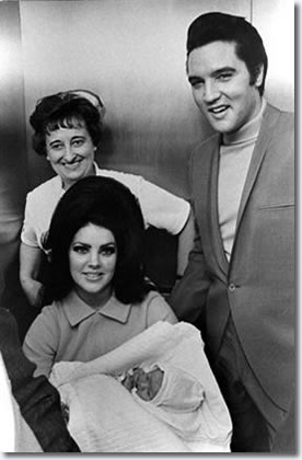 Elvis and Priscilla with baby Lisa Marie leaving hospital 1968