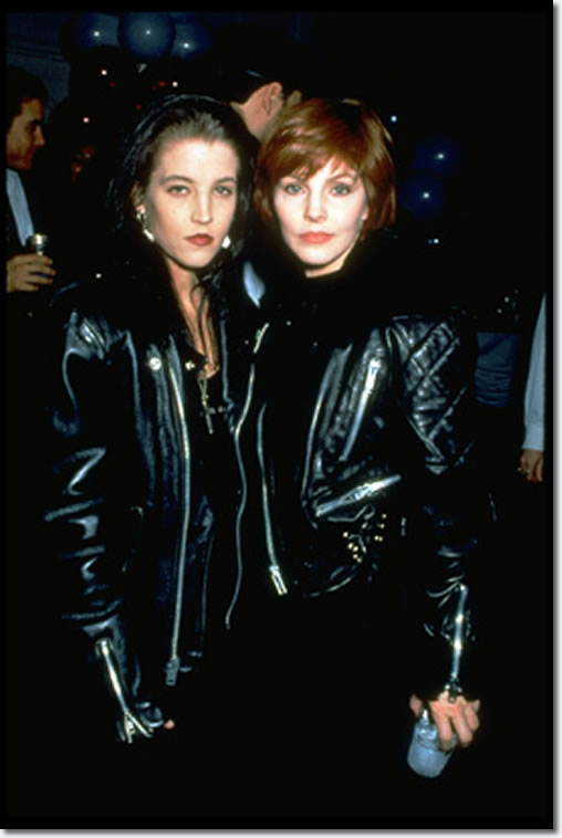 "In this photo taken in 1992, the Presley girls, Lisa Marie and her mother Priscilla are rocking the leather jackets. In an interview with Playboy magazine, Lisa Marie said her mother kept a close eye on her. ""She watched me closely,"" said Lisa Marie. ""After I read her book, I realized why. She'd done things that weren't what your average 14-year-old would do. And I was doing the exact same things."" In that same interview, Lisa Marie said she was in a ""destructo mode,"" and her drug phase lasted for about three years."
