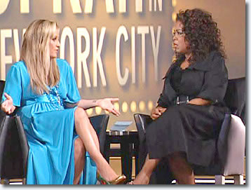 Lisa Marie Presley talks with Oprah Winfrey.