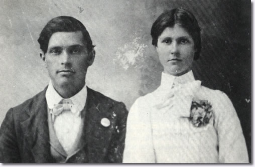 Gladys Presley's Parents - Bob and Doll Smith - Day of Wedding September 19, 1903