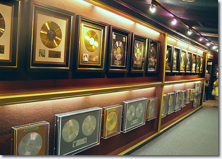 Trophy Room ... just a small sample of the hundreds of Elvis awards displayed at Graceland / Scott Jenkins