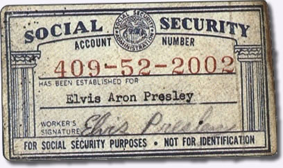 Elvis Presley Social Security Card 1950
