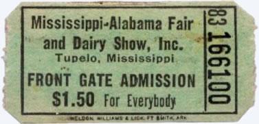 Ticket for Elvis Presley Show 1956 - Tupelo, MS. Mississippi-Alabama Fairgrounds