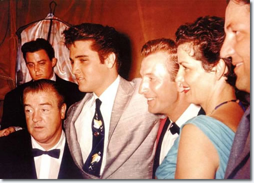elvis presley with comic lou costello and actress jane russell