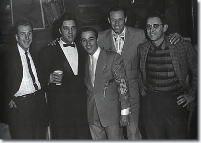 Elvis backstage at the Opry, December 22, 1957. With (left to right) Ferlin Huskey, Faron Young, Hawkshaw Hawkins and Tom Perryman.