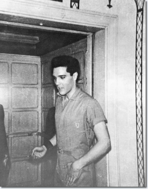 A rare photo of Elvis at the Beverly Wilshire Hotel during the filming of G.I. Blues.