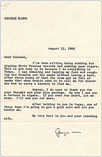 Letter To Colonel Parker From Actor George Burns