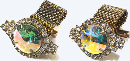 These diamond-encrusted cuff links were worn by Elvis on the day he married Priscilla Beaulieu, May 1, 1967. They were a flashy addition to his black paisley tuxedo.