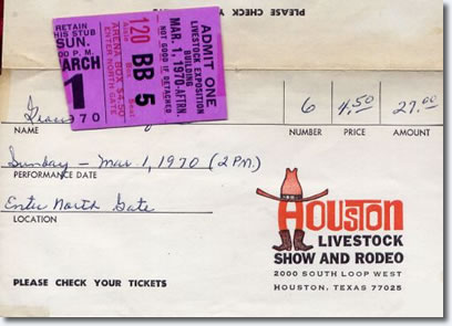 Houston Astrodome Ticket for March 1, 1970 afternoon show