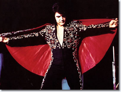 The King ... a caped Elvis closes a show in Honolulu, Hawaii in November 1972